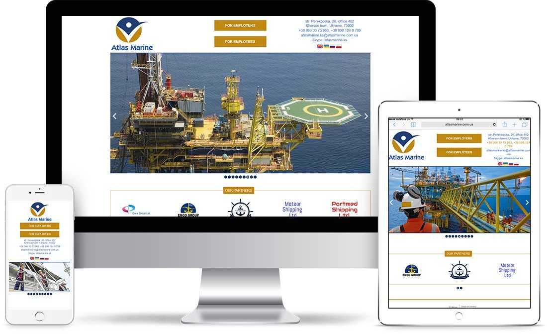 Разработка сайта-визитки для крюингового агенства Atlas Marine